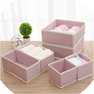 6PCS New Nonwoven Storage Container Foldable Drawer Divider Lidded Closet Box for Ties Socks Bra Underwear Clothing Organizer,Light Pink