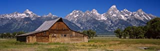 Posterazzi Old barn on a landscape Grand Teton National Park Wyoming USA Poster Print, (36 x 12)