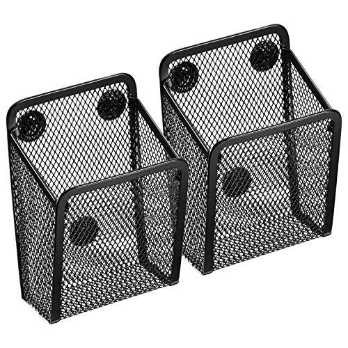 Fltaheroo Porta LáPices MagnéTico, Cestas de Almacenamiento de Malla con Imanes para Sostener Accesorios de Pizarra/Refrigerador/Casillero (2 Paquetes)