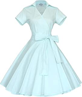 50s 60s Vintage Short Sleeves Swing Rockabilly Ball Party Dress