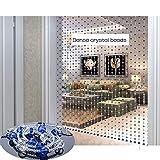 GDMING 30 Hilos Cortinas De Hilos para Puertas Decoración Cortina De Cuentas Tabique Cristal Cuerdas Colgantes Cocina Divisor Biombos,Personalizable (Color : Blue, Size : 30 strands-90x150CM)