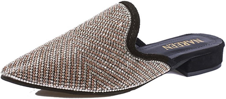 Bon Soir Mule Slippers for Women,Womens Rhinestones Flat Sandals Pointed Toe Jeweled Embellishment Slides Sandals