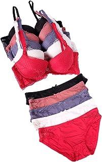 Pack of 5, Women's Lace Brand Panty Set Bra & Underwear Lingerie Set