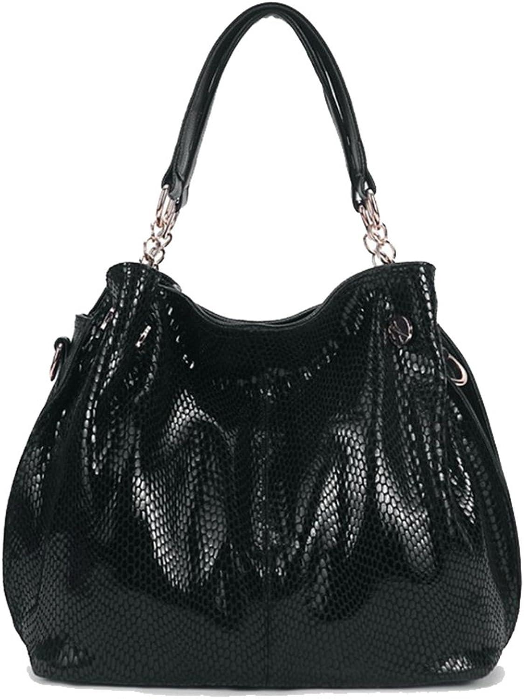 Yan Show Women's PU Snakeskin Pattern Shoulder Bag Glossy Handbag
