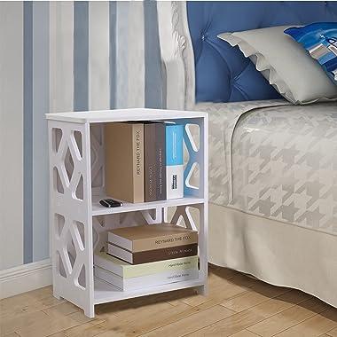 Bookcase,2 Shelf Bookcase Kids ,2 TierSmall BookshelfKids Storage for Office Home School Shelf Display for Cd/Magazine/Book-W