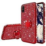 Misstars Glitzer Hülle für Xiaomi Redmi 9A Rot, Bling Strass Diamant Weiche TPU Silikon Handyhülle Anti-Rutsch Kratzfest Schutzhülle mit 360 Grad Ring Ständer für Xiaomi Redmi 9A