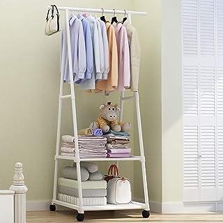XYBB Armario Dormitorio 4 Colorido Piso De Pie Ropa Colgante Racks W/Rueda Muebles De Estilo Simple 158 * 55 * 42cm Blanco