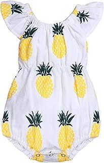 Newborn Baby Girl Pineapple Ruffle Pattern Off Shoulder Romper Summer Infant Bodysuit Jumpsuit