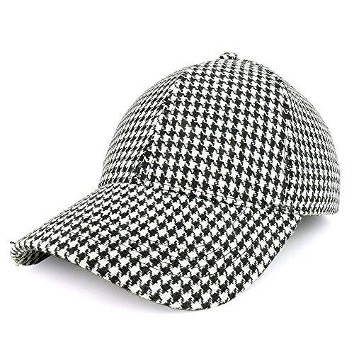 Trendy Apparel Shop Houndstooth Adjustable Cotton Baseball Cap - Black