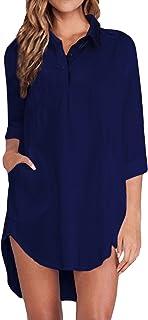 ZANZEA Camicie Donna Maglia Tinta Unita Manica Lunga Bluse Casual Taglie Forti Shirt Elegante Basic Loose Top
