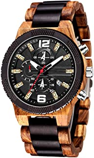 Mens Personalized Wooden Watches Vintage Quartz Watch Lightweight Wood Band Timepieces for Men