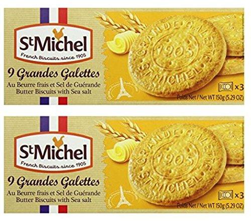 St Michel La Grande Galette Butter Cookies, Sea Salt, 5.3 Ounce (Pack of 2)