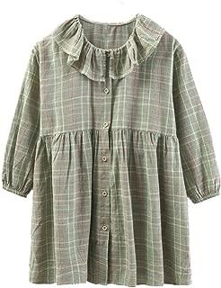 N/X Summer Children's Ruffled Collar Plaid Skirt Tartan Skirt with Buttons Girls Fashion Dress Princess Dress for Children's Day Gift