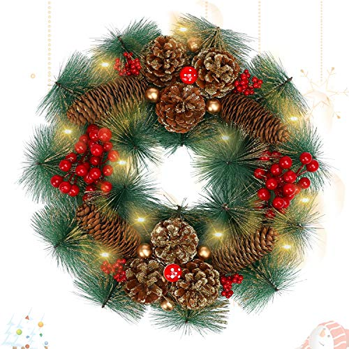 LessMo Christmas Pre-lit Artificial Christmas Wreath, Christmas Door Wreath Decoration with 30 LED Lights, Flocked Red Berries, Pine Cone and Ball Ornaments, for Front Door Outdoor Home Décor