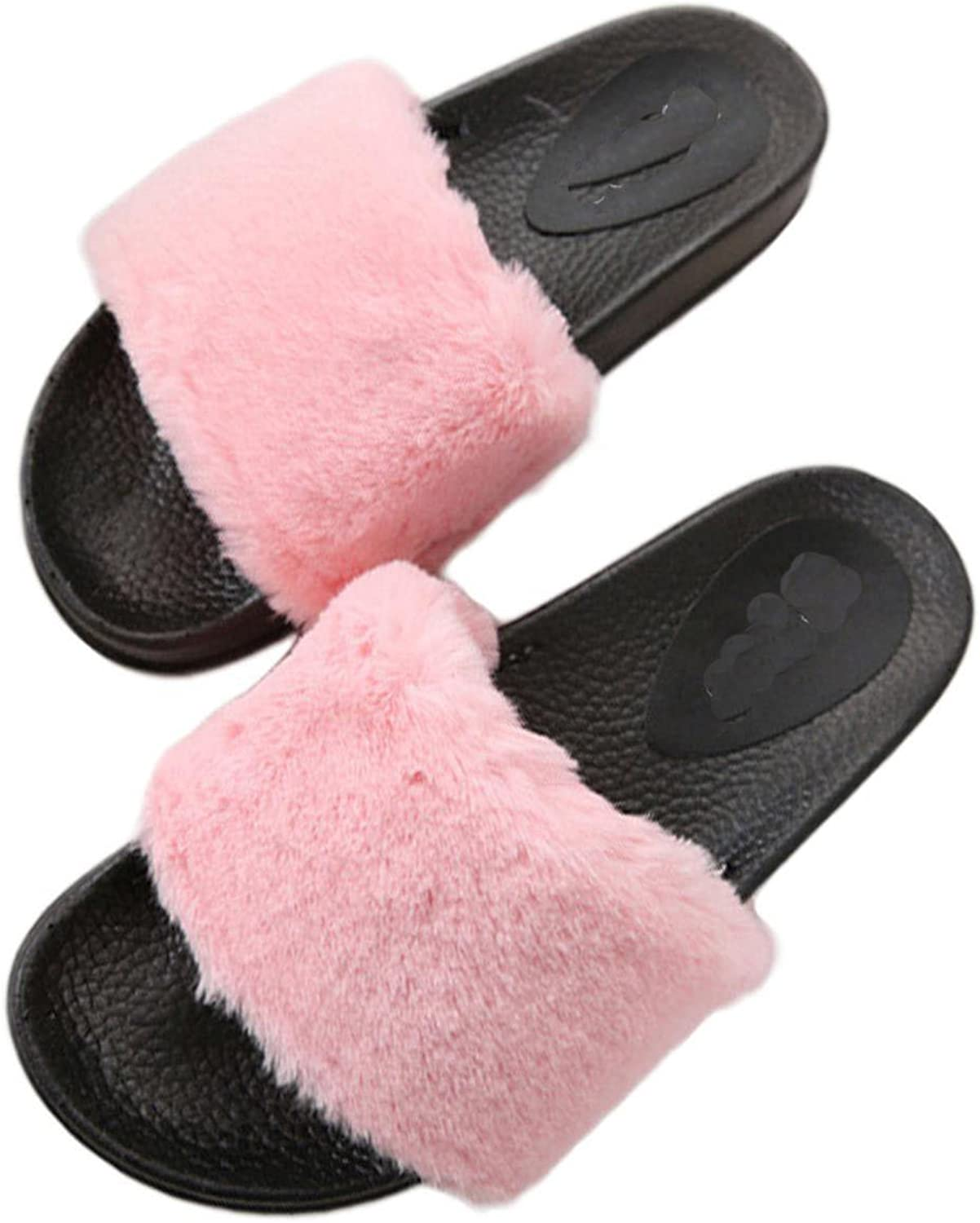 Women Plush Slippers Fluffy Rubber Thicker Non-slip Cute Furry Fur Slides Ladies Large Size shoes