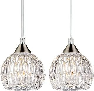SOTTAE Modern Style Hanging Light Fixture 47.24'' Cord Adjustable Bar Kitchen Pendant Light, Elegant Ceiling Light with Glass Shade(2 Packs)