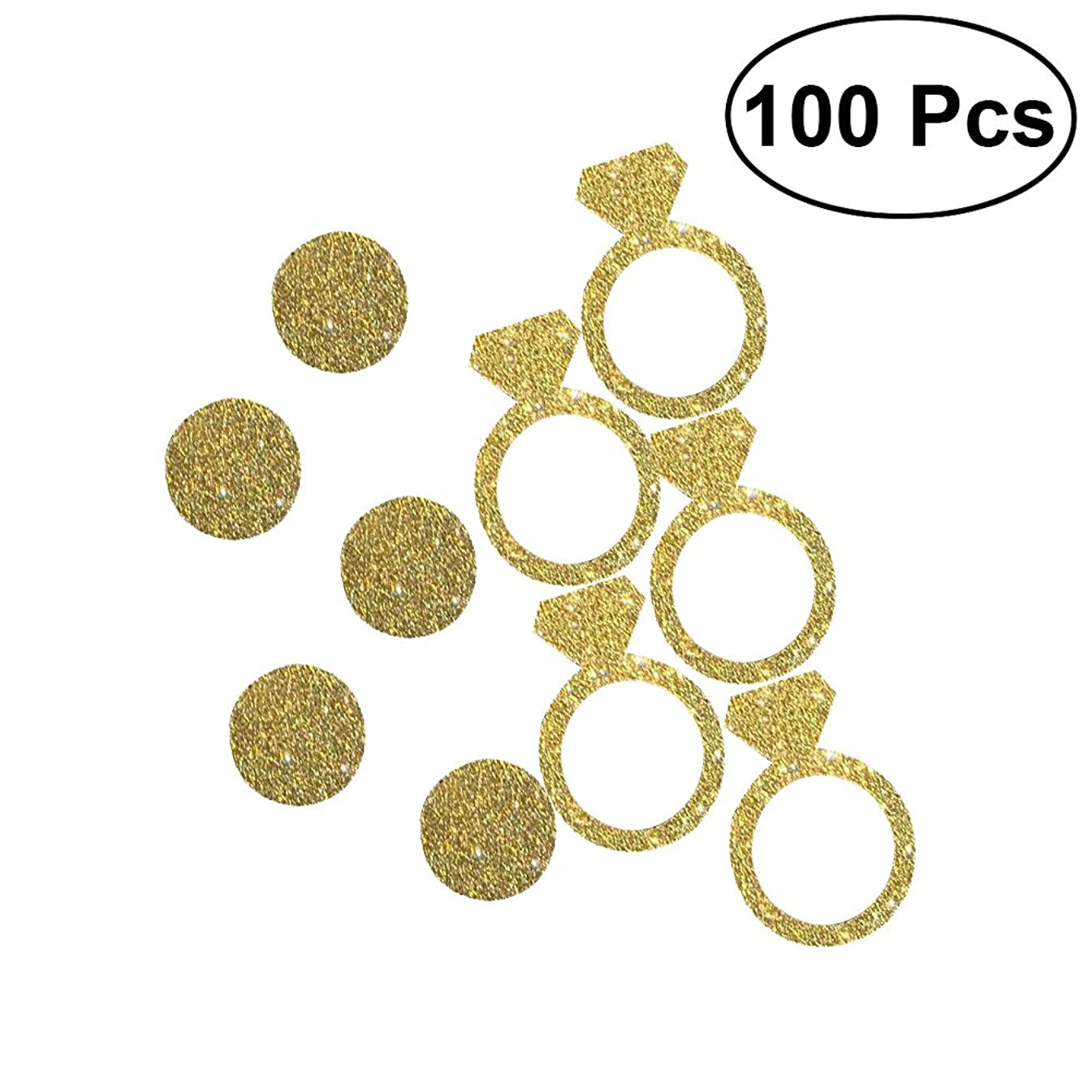 NUOLUX 100pcs Diamond Gold Ring Confetti DIY Glitter Paper Confetti for Wedding Party Decoration