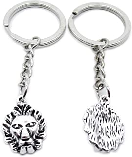 Metal Antique Silver Plated Keychains Keyrings Keytag YK108 Lion King Leo Key Chain Ring