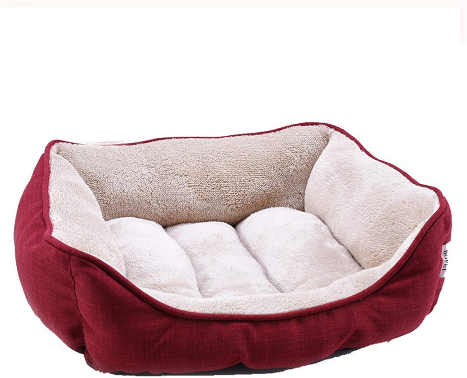 Kenndel Pads Dog Bed Pet Bed and Red Square Pet nest Four Seasons Universal Small Velvet Dog Litter Mattress Lettore caldo Autumn e Winter Models Cat Pet Supply Cover (Dimensione: M (20kg di animali))