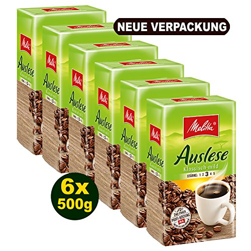 Melitta Kaffee Auslese klassisch, gemahlen, 6 x 500g - ideal für Filterkaffee Trinker