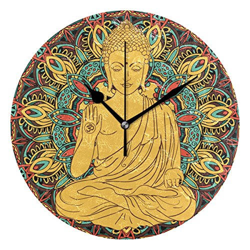 Buddah Buddhism Buddhist Zen Art 9.5 Inch Battery Operated Decorative Wall Clock, Quartz Clock for Bedrooms, Living Room, Bathroom