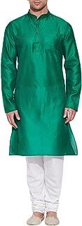 Emerald Green Silk Kurta for Men - Men's Indian Fashions - Polyester Dupion