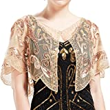 ArtiDeco - Chal de los años 20 para vestidos de noche, estola para bodas, mantón para fiestas o disfraces albaricoque Talla única