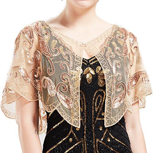 ArtiDeco, Scialle da donna in stile vintage anni 20, con paillettes e perline, stile art déco Albicocca Gratuito
