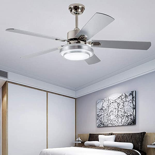Andersonlight Fan 52 LED Indoor Stainless Steel Ceiling Fan With Light And Remote Control