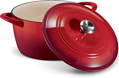 Tramontina Enameled Cast Iron 7-Qt. Covered Round Dutch Oven - Red