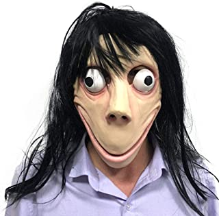 Momo Challenge Mask Hacking Games Creepy Latex Full Head Mask Halloween Cospaly Party Costume Props with Long Hair Wig