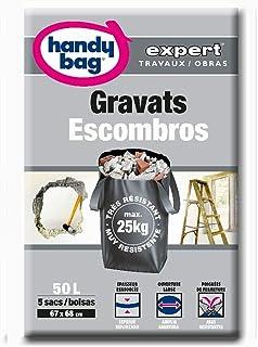 Handy Bag Bolsas Basura 50L Escombros, Ultra Resistentes, Asas Laterales, 5 Sacos