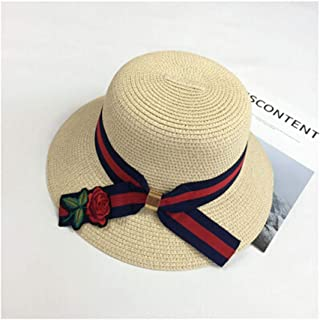 Hats Sunshade Beach Sun Hat Straw Hat Retro Rose Hat Sunscreen Fashion (Color : Beige, Size : 58-60cm)