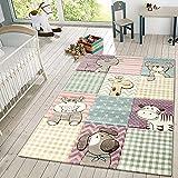 TT Home Kinder Teppich Moderner Spielteppich Niedliche Tier Motive Pastell Farben Bunt, Größe:160x230 cm