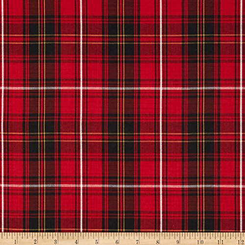 Robert Kaufman House of Wales Lawn Plaid Red Fabric By The Yard