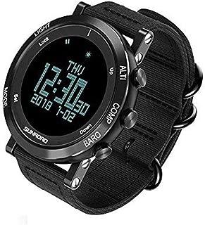 SUNROAD Men's Smart Digital Barometer Altimeter Compass Waterproof Watch with LED Screen Large Face Altimeter Watches & Waterproof Casual Luminous Stopwatch Wristwatch