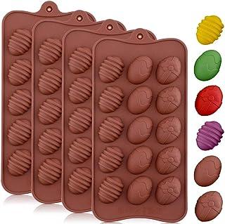INTVN Moldes de silicona para huevos de Pascua para chocolate, 4 unidades, con 15 cavidades para repostería, repostería, repostería, repostería, Cocina, decoración