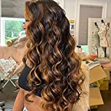 Ten Chopsticks Body Wave Ombre 1b/27 Black Brown Highlight Human Hair Wigs 180 Density Pre Plucked Hairline Brazilian Remy Wigs 13x6 HD Invisible Transparent Lace Front Human Hair Wig 18 Inch