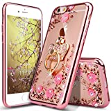 iPhone 6 Plus Case,iPhone 6S Plus Case,Glitter Crystal Plating Butterfly Floral Luxury Bling Diamond Rhinestone Clear TPU Case for iPhone 6/6S Plus 5.5', Rose Gold Pink Flower,Crown Ring Stand