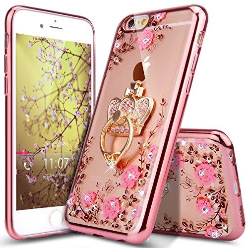 Cover iPhone 6S Plus Custodia,Cover iPhone 6 Plus,Placcatura fiore Lucido cristallo glitter diamante Trasparente Morbida TPU Silicone Gel Custodia Case Cover,Fiori rosa oro rosa supporto anello corona