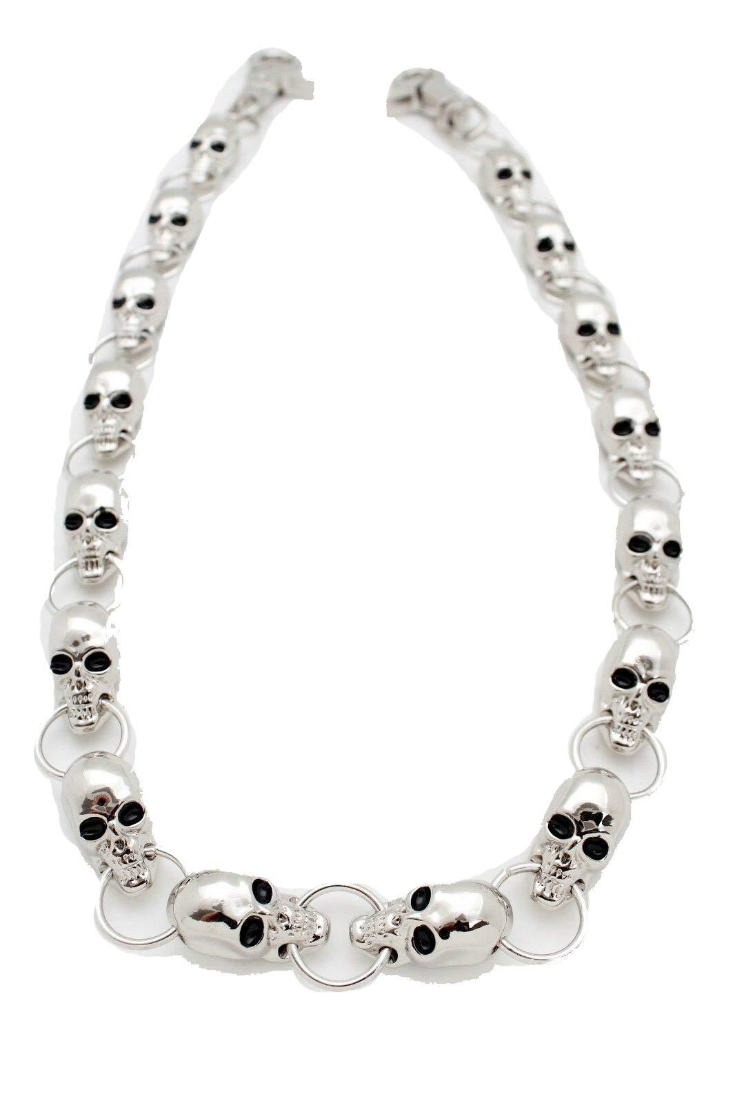 TFJ Men's Fashion Wallet Chain Links Big Skulls Silver Metal Keychain Clasp Ring