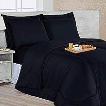 Kit Edredom Soft Casa Dona Casal + 4 porta Travesseiros e Lençol Preto