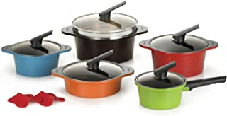 Happycall Hard Anodized Ceramic Nonstick Pot 13-piece Set, Oven Safe, Dishwasher Safe, Steamer, Silicone Pot Holders, Cookware Set, Assorted Colors (Renewed)