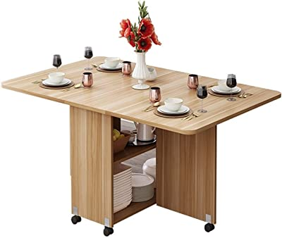 Creative Solid Wood Folding Movable Dining Table Living Room Kitchen Stuff Storage Home Furniture (Color : Dark Gray)