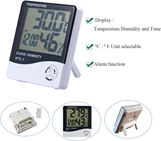 HTC-1 Indoor Clock Temperature Humidity Monitor Controller Meter Thermometer Hygrometer Digital Thermo-Hygrometer LCD Time Display Alarm Function