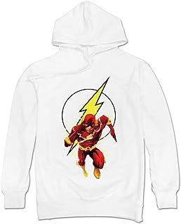 DAVID Men`s Barry Allen DC Comics Bart Allen Flash Hoodie Sweatshirt White