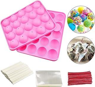 DECARETA Moule à Pop Cake en Silicone +100 PCS Bâtons +100 PCS Cellophane + 100 PCS Cravates Moules à Lollipop Bonbon Moul...