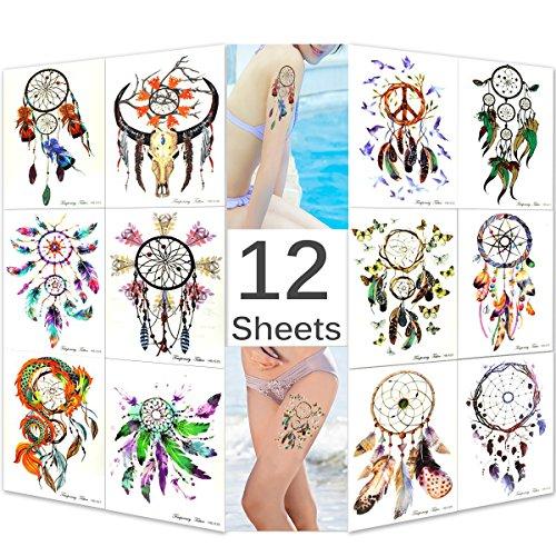 Feskin 12 Sheets Temporary Art Tattoo Sticker, Fashion Removable Waterproof Bright Dream Catcher Body Sticker for Women and Girls