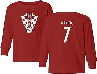 Tcamp Croatia 2018 National Soccer #7 Ivan RAKITIC World Championship Little Kids Girls Boys Toddler Long Sleeve T-Shirt