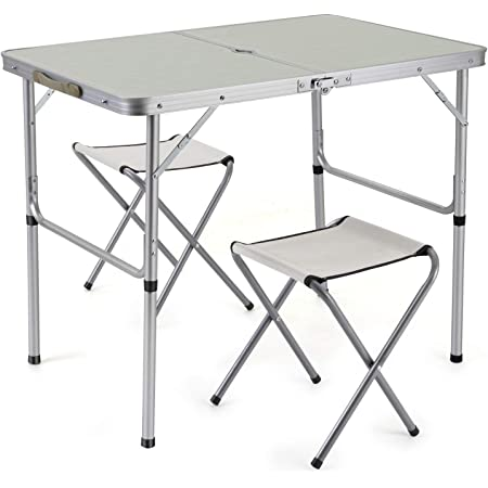 BENCONO Portable Multifunctional Aluminum Alloy Conjoined Picnic Folding Table and Chair for Outdoor Indoor Party